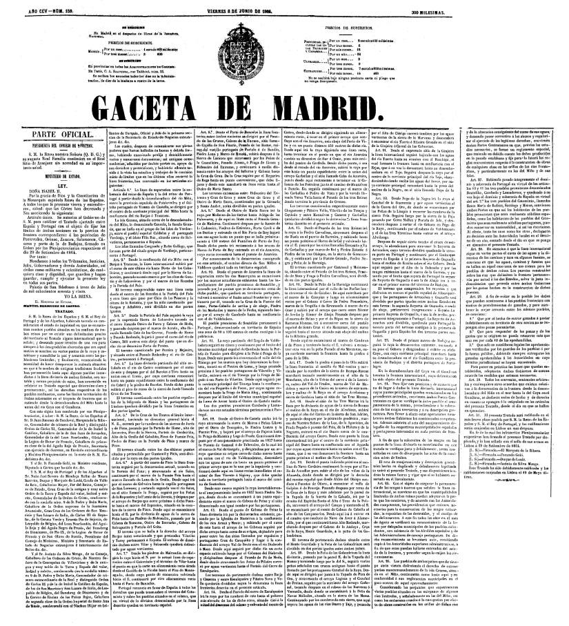 Texto del Tratado de Limites de 1864