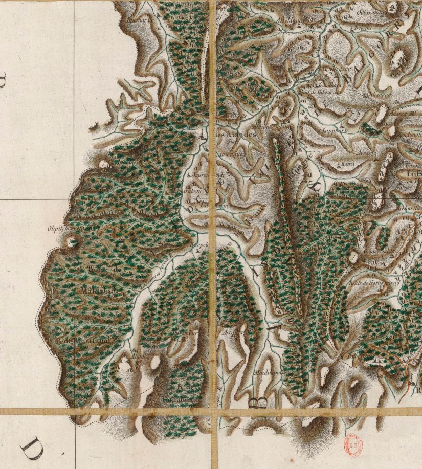 Carte générale de la France, dirigida por César-François Cassini de Thury, a escala ca.1:86.400. Detalle de la hoja nº 140 [Saint-Jean-Pied-de-Port], publicada en 1772, en que se representa el sector de los Alduides. Fuente: BNF, département Cartes et plans, GE FF-18595 (140).